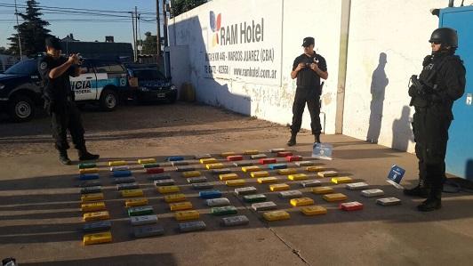 Secuestran 84 kilos de cocaína a cuatro salteños en Marcos Juárez