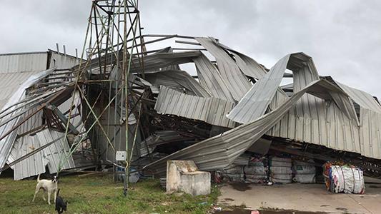 Impactante: Así quedó por el viento el galpón de reciclado de residuos