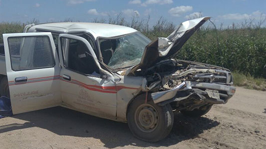Fuerte choque en zona rural: Los heridos iban en la camioneta