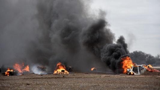 Las fotos de cómo fue el simulacro de un incendio y caída de avión