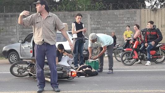 Joven accidentada tras un choque en cercanías del hipódromo