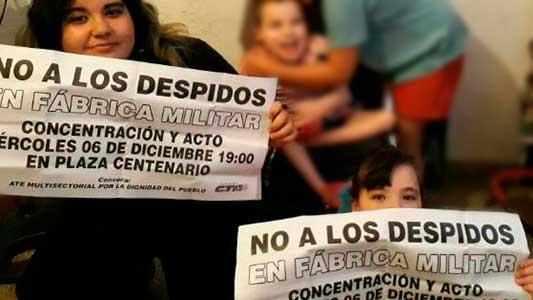 Paro y movilización por inminentes despidos en la Fábrica Militar