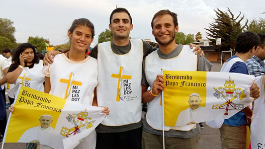 Los villamarienses que están en Chile como voluntarios del Papa