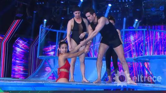 Por sueño del Caritas: Diego Ramos y Lourdes Sánchez bailaron el Aquadance