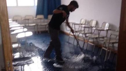 La lluvia también afectó a las instalaciones de la UNVM