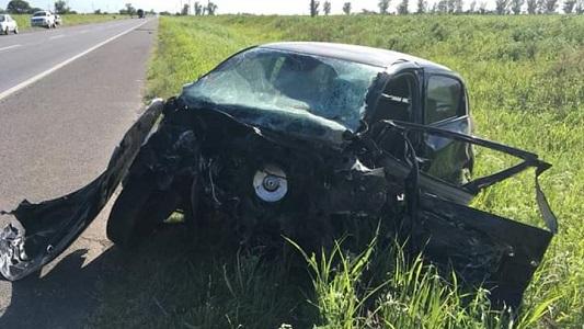 Fuerte choque en la 158 entre 3 vehículos cerca de Dalmacio Vélez