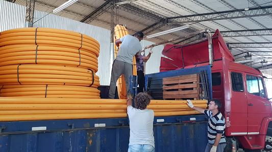 Villa Nueva: Llegó material para llevar el gas a 430 familias de Los Olmos y Las Quintas