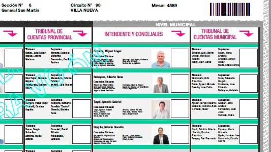 Así es la boleta con la que se elige intendente de Villa Nueva