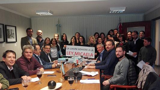 UNVM adhiere a la Ley Micaela en contra de la violencia de género