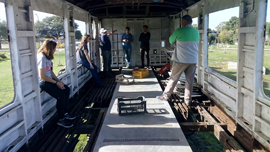 Instalan invernadero en vagón de ferrocarril: Recuperan un espacio en Los Chaleses