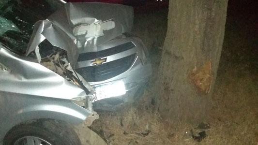 Auto de concesionaria chocó de lleno contra un árbol en ruta 9