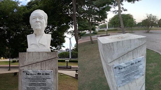 Vandalismo con el busto de la chilena Gabriela Mistral